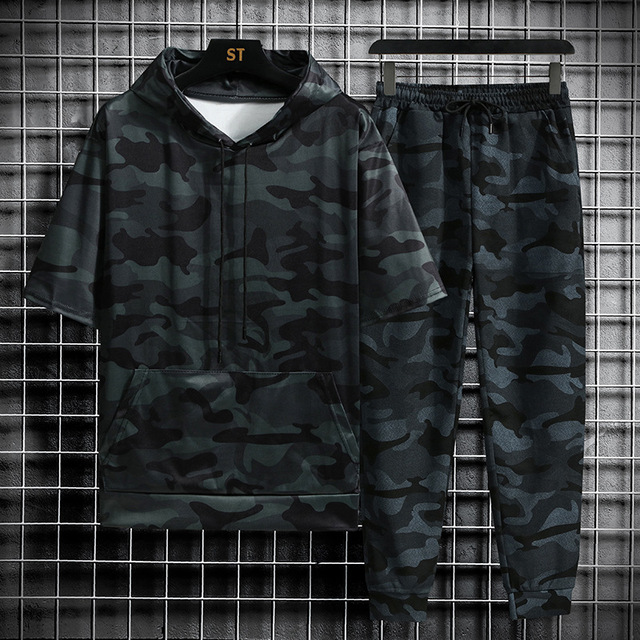 Spring Summer New Camouflage Men's Suit Sports Fitness Short Sleeve Hoodie+Trousers Men 2 Pieces Casual Outdoor Fashion Shorts 2