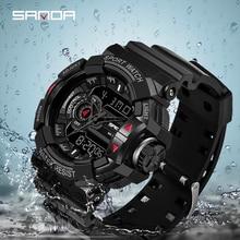 Casual Digital Watch Men Stopwatch Alarm clock Date Display Luminescence Mode 12/24 hour Time Format Sports Wristwatch SANDA