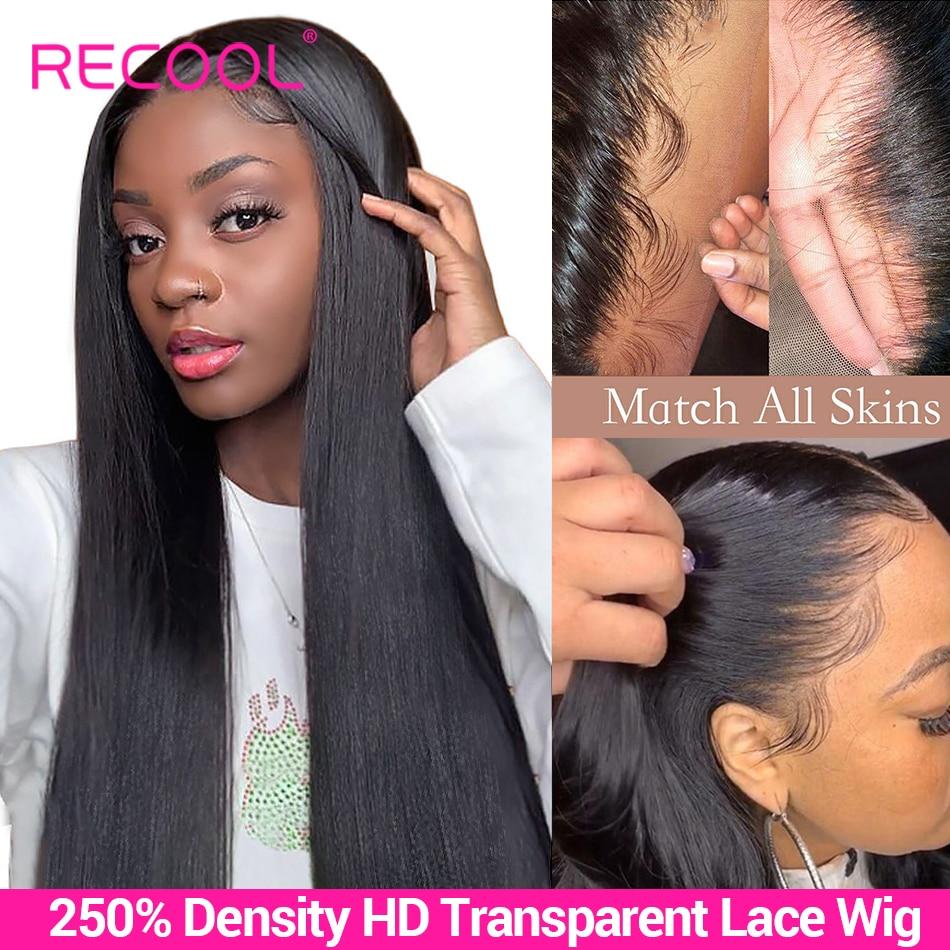 Recool HD прозрачный кружевной парик, прямые кружевные передние человеческие волосы, парики 180 200 250 плотность, предварительно выщипанный бразил...