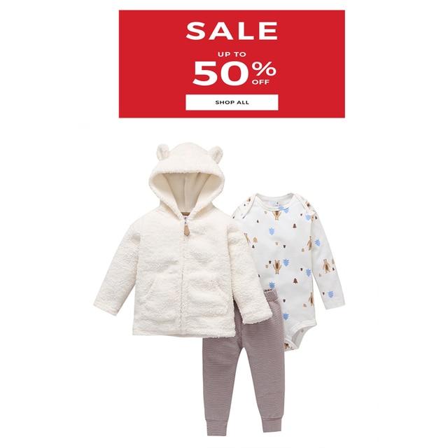 Erkek bebek kış giysileri kapüşonlu ceket polar + romper + pantolon yenidoğan kız giyim bebekler kıyafet uzun kollu bebek seti fermuarlı 2020