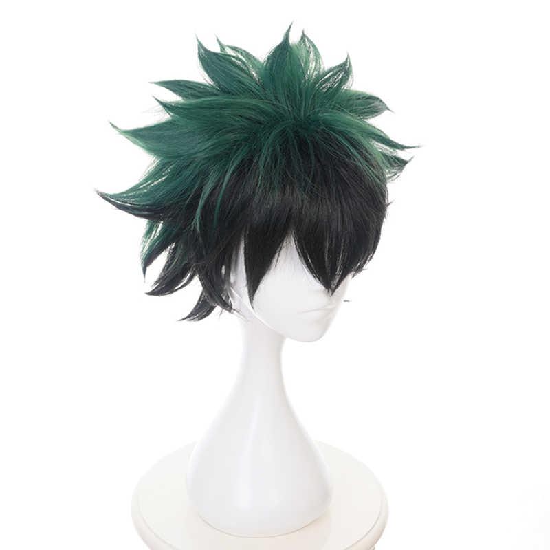 Mijn Boku geen Hero Academia Izuku Midoriya Pruik Korte Groen Zwart Synthetisch Haar Hittebestendige Cosplay Kostuum Pruiken + Pruik cap