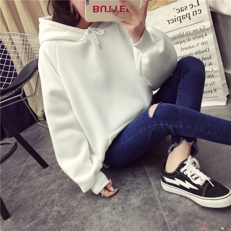 Hb7b3df93c5b4499e85a9cdc77b8b97f5I - Autumn winter Harajuku Solid Sweatshirt Women Long Sleeve Hoodie Loose Women Hoodies Sweatshirts Casual Tracksuit