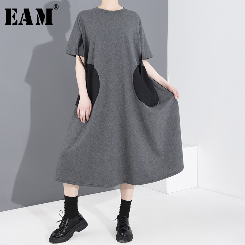 [EAM] Women Gray Pocket Split Joint Big Size Dress New Round Neck Short Sleeve Loose Fit Fashion Tide Spring Summer 2020 1T45902
