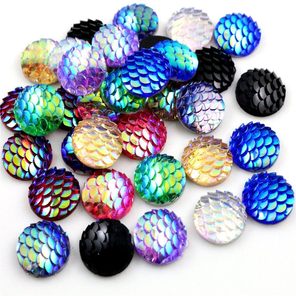 New Fashion 40pcs 12mm Mix Colors Mermaid Fish Scale Flat Back Rhinestone Round Cabochon Embellishment Scrapbooking DIY Crafts
