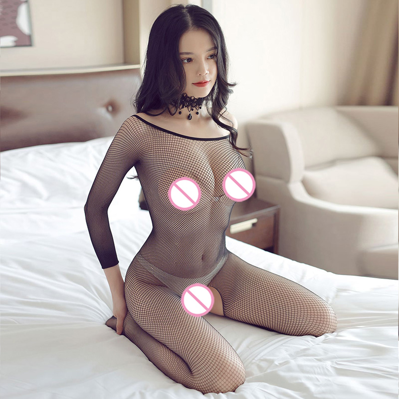 Fishnet Teddy <font><b>Bodysuits</b></font> <font><b>catsuit</b></font> <font><b>Sexy</b></font> <font><b>Lingerie</b></font> Women Erotic Underwear Long-sleeve Bodystockings Baby Doll Mesh Body <font><b>Sexy</b></font> Stocking image