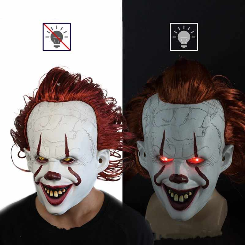Joker Pennywise masque Stephen King It horreur Cosplay Latex LED masques casque effrayant Clown Halloween fête déguisement accessoires masques