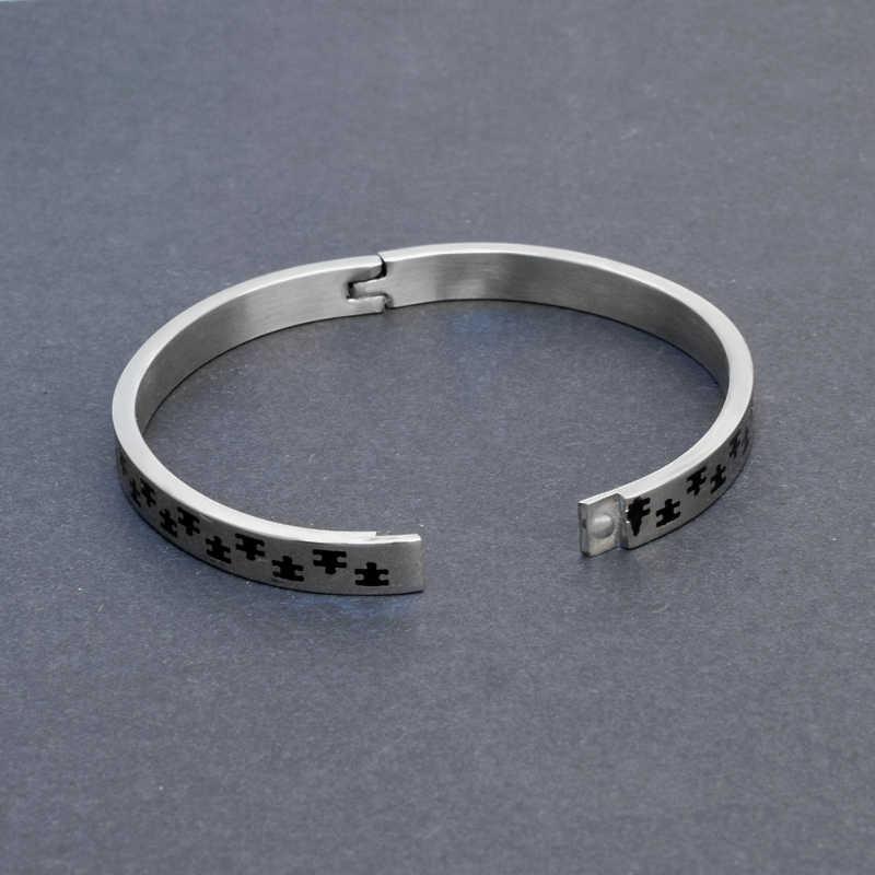 SOITIS bransoletki ze stali nierdzewnej czarny Retro bransoletka mankietowa mężczyźni kobieta biżuteria prezenty Trendy moda bransoletka Crystal Femme Bijoux