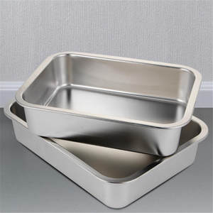 stainless steel plate tray rectangular square plate baking pot dish deep Japanese barbecue bbq cafeteria storage tray rotisserie