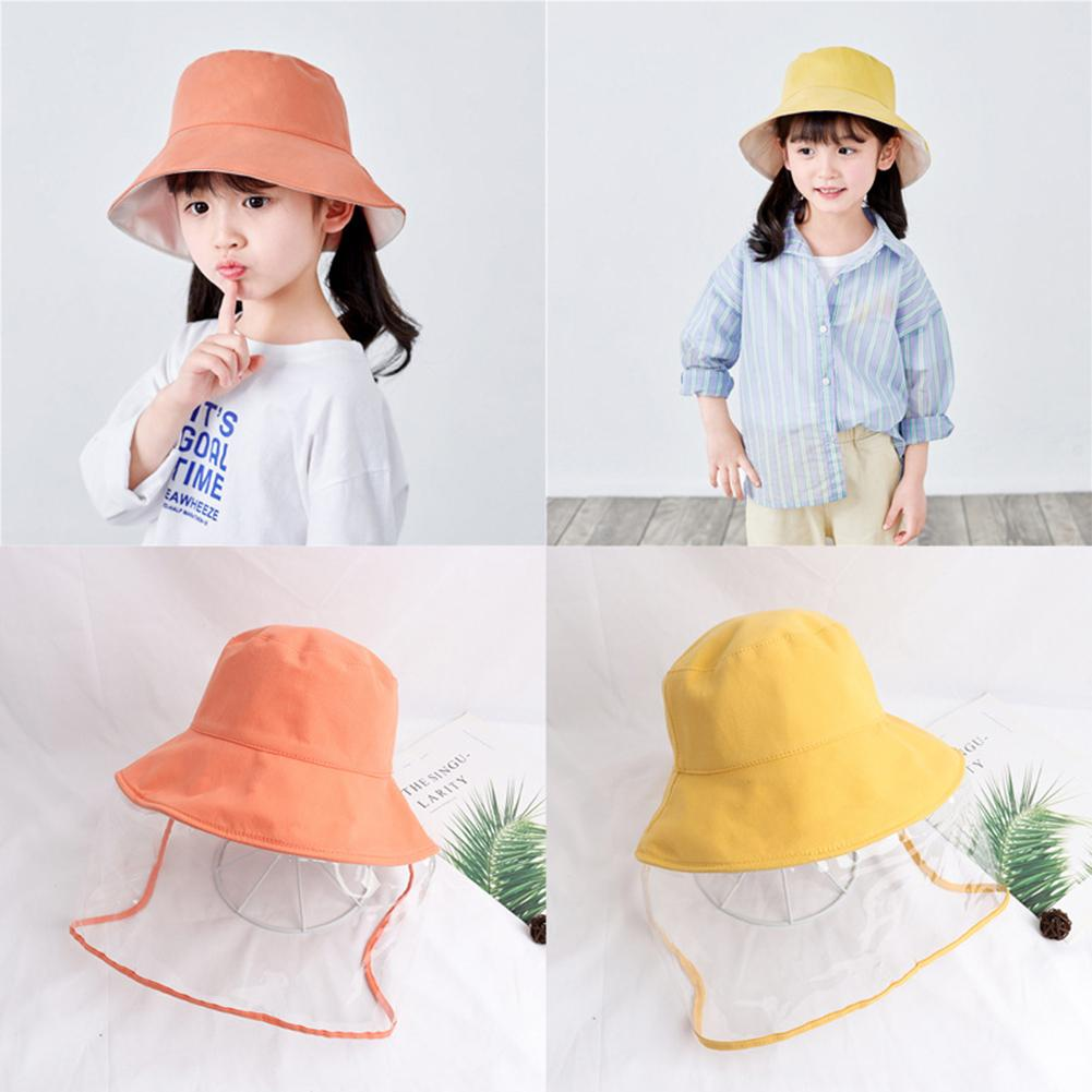 5-12Y Kids Summer Fisherman Hat With Clear Shield Girls Boys Anti Spitting Droplet Windproof Protective Outdoor Safety Sun Cap