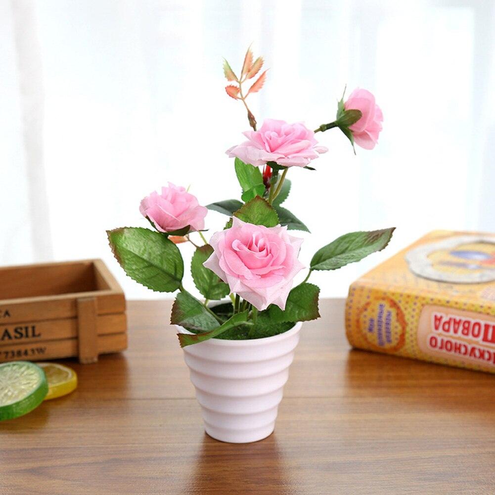Пластиковые искусственные цветы с розами искусственный бонсаи цветы поддельные цветы вечерние Свадебные украшения Аксессуары для ванной комнаты