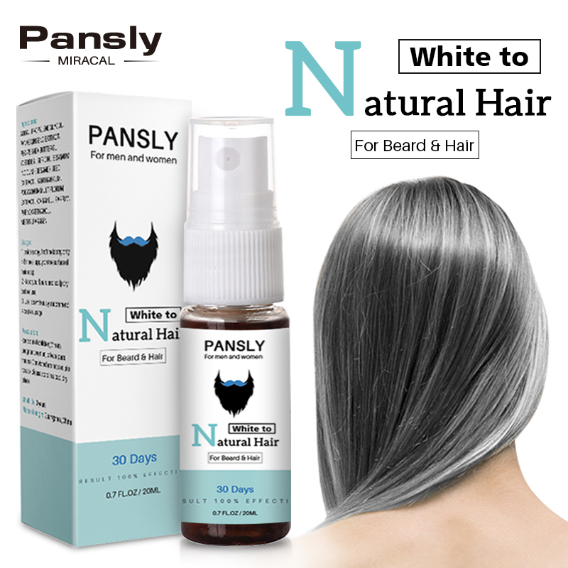 PANSLY Restore White Beard Hair To Natural Color Spray Unisex Herbal Cure Treatment Tonic Growth Essence Serum image