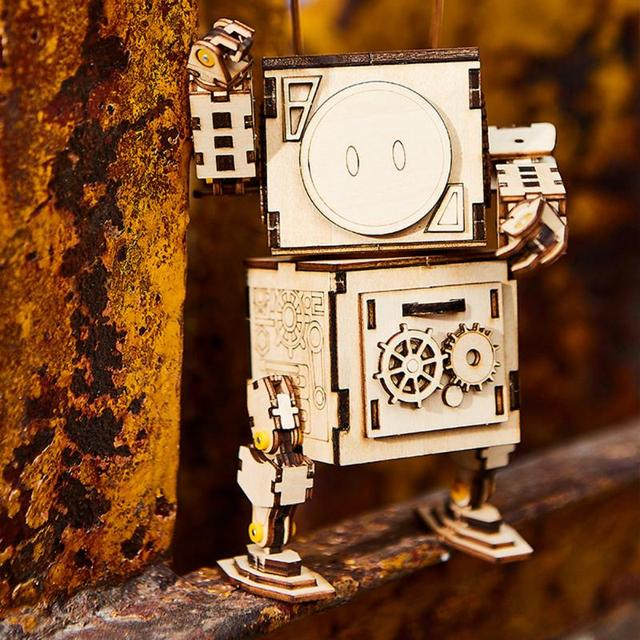 DIY 3D Wooden Puzzle Assembled Robot Model Kids Assembly Educational Toys