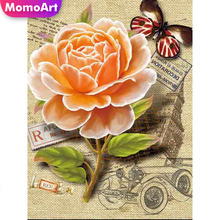 MomoArt 5D Flowers Diamond Painting Butterfly Diy Full Drill Rhinestone Square Embroidery Home Decoration Gift