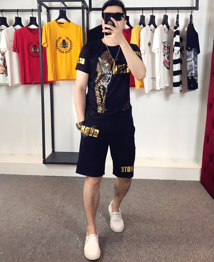 Summer Fashion Diamond  Print Shirts Men+Shorts Set Men Short Sleeve Shirts Casual Men Clothing Sets Tracksuit Plus Size
