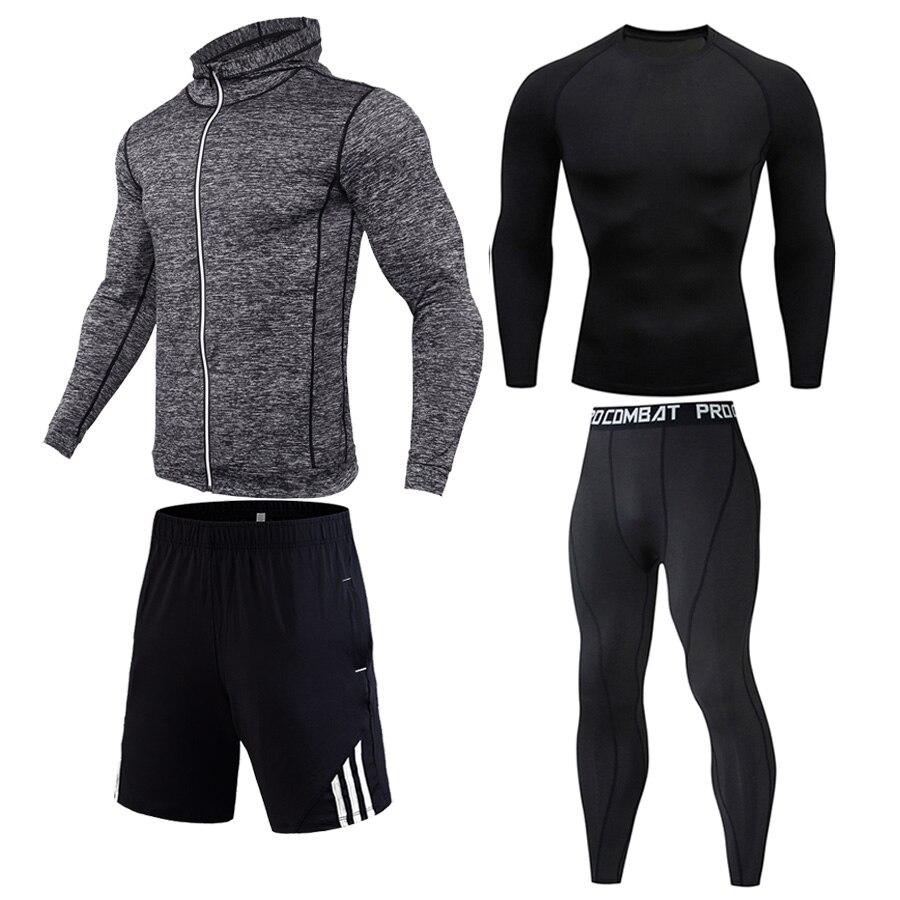 Gym  Thermal underwear 4 pieces kit Men's sportswear Long T-shirt Sports shorts Men's Leggings Sports hoodie Compressed drying