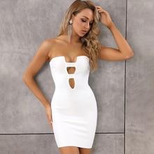 O envio gratuito de moda feminina verão sólido sexy buraco chave branco vermelho bandagem vestido 2020 designer moda noite festa vestido