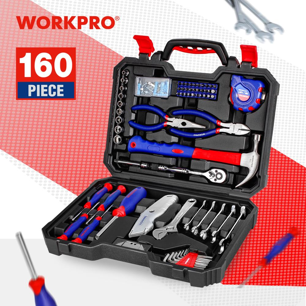 WORKPRO 160PC Tool Set Hand Tools For Daily Use Home Tool Set Househould Tool Kits Screwdriver Set Wrench Knife Pliers