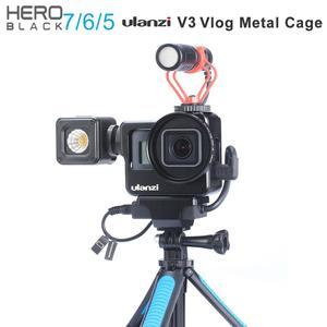Image 1 - Ulanzi V3 Vlog 케이스 금속 케이지 Gopro 7 6 5 Vlogging 케이스 52 미리 메터 렌즈 필터 원래 마이크 전원 어댑터 Gopro