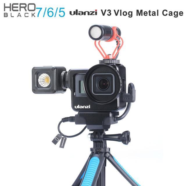 Ulanzi V3 Vlog 케이스 금속 케이지 Gopro 7 6 5 Vlogging 케이스 52 미리 메터 렌즈 필터 원래 마이크 전원 어댑터 Gopro