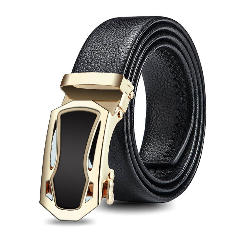 Men's High Quality Automatic Buckle Belt Sports Car Styling Buckle Bark Texture Business Fashion Casual Jeans Belt P86