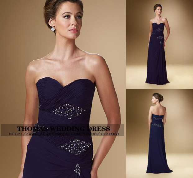 2019 New Elegant Royal Blue Chiffon Sleeveless A-line With Crystal Beading Formal Evening Mother Of The Bride Dresses WV-505