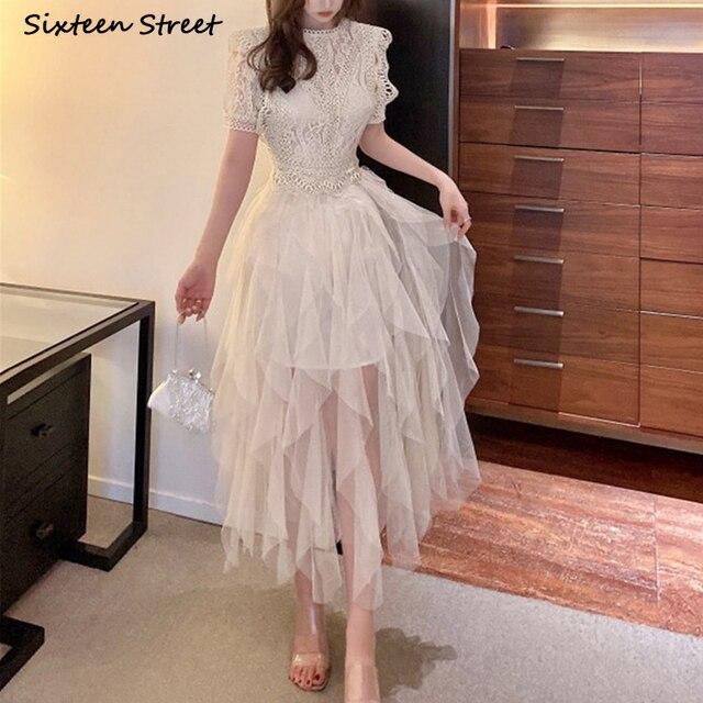 Apricot Mesh Dress Woman Summer Vintage High Waist Ball Gown Dress Bodycon Female Elegant Party Bridesmaid Maxi Dresses Woman 2