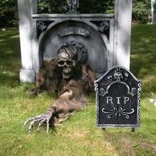 ハロウィーンの装飾 1 個のホラープラスチック墓石偽墓ハロウィンスケルトン小道具墓石ハロウィン家の庭の装飾
