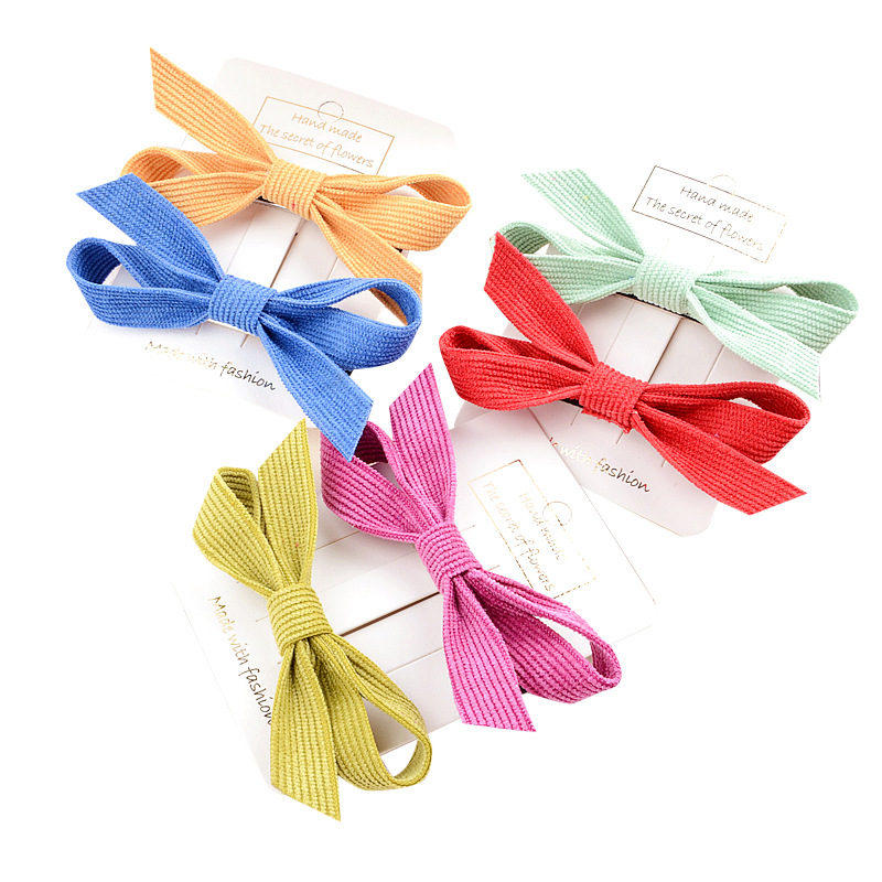 Girl Duckbill Clip Korean Version Of Corduroy Bow Hairpin Children's Solid Color Clip Headwear Wholesale