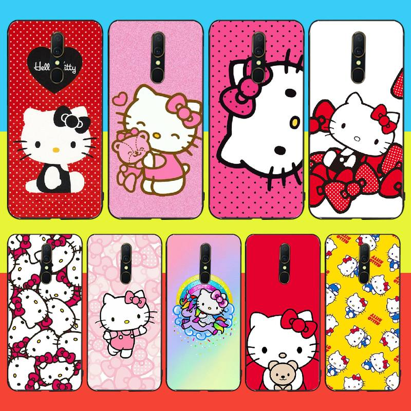 PENGHUWAN Cute Kawaii Hello Kitty Phone <font><b>Case</b></font> Cover For <font><b>Oppo</b></font> <font><b>A5</b></font> A9 <font><b>2020</b></font> A11x A71 A73S A1K A83 <font><b>case</b></font> image