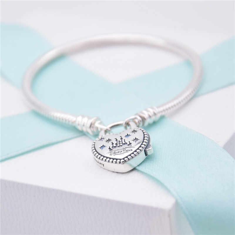 Asli 925 Sterling Silver Gelang Taman Dunia Castlel Cinta Hati Gesper Snake Bangle Wanita Fit Manik Pesona Fashion Perhiasan