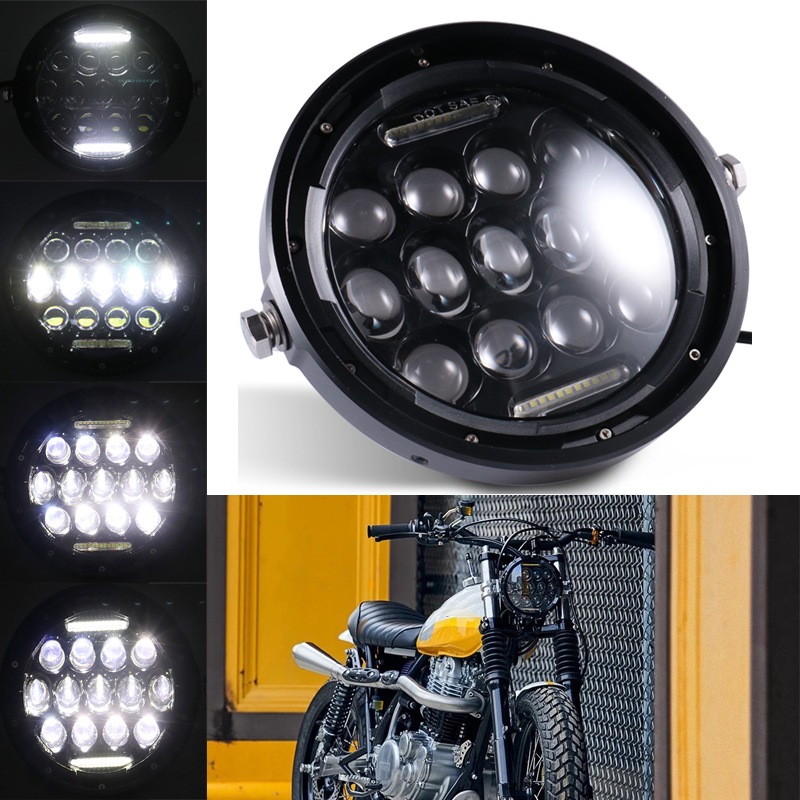 7 Inch Motorcycle LED Headlight Universal Motor 7inch Round Head Lamp Retro Black Headlamp for Cafe Racer Bobber Honda GS125 CG125