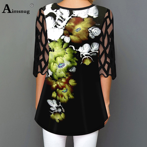 Image 3 - O neck Hollow out Sleeve Tops Single breasted Tee Shirt Plus size Female T Shirt Loose Ladies5x 2020 WomenPrint Button Blue