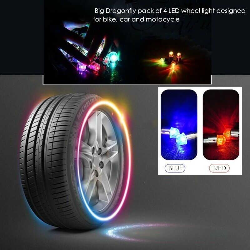 1 2 or 4 led neon dust cap wheel lights universal car bicycle motorbike