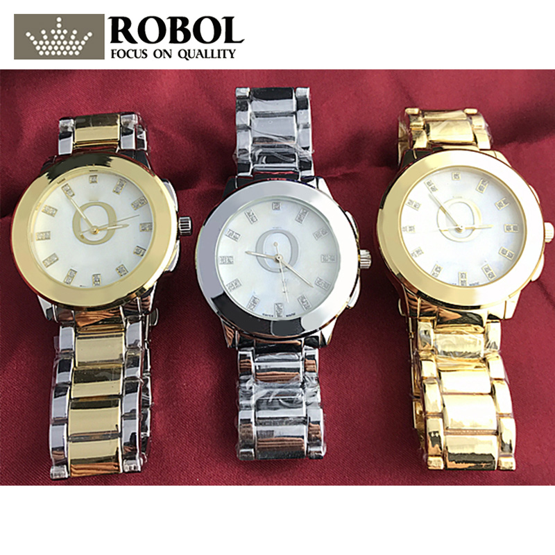 RLLEN Stainless Steel Men Women Couples Quartz Watches Fashion Luxury Jewelry Gift Wedding Noble Charm Retro