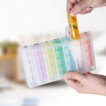 Durable Portable Seven Days 28 Grids round Colorful Plastic Pill Box Household Case Travel Supplies Col