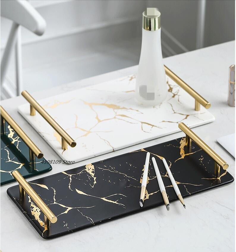 Plateau de rangement multifonction | Plateau carré en céramique de texture de marbre, plateau de collation modèle nordique, salle de séjour, table basse, plateau de thé