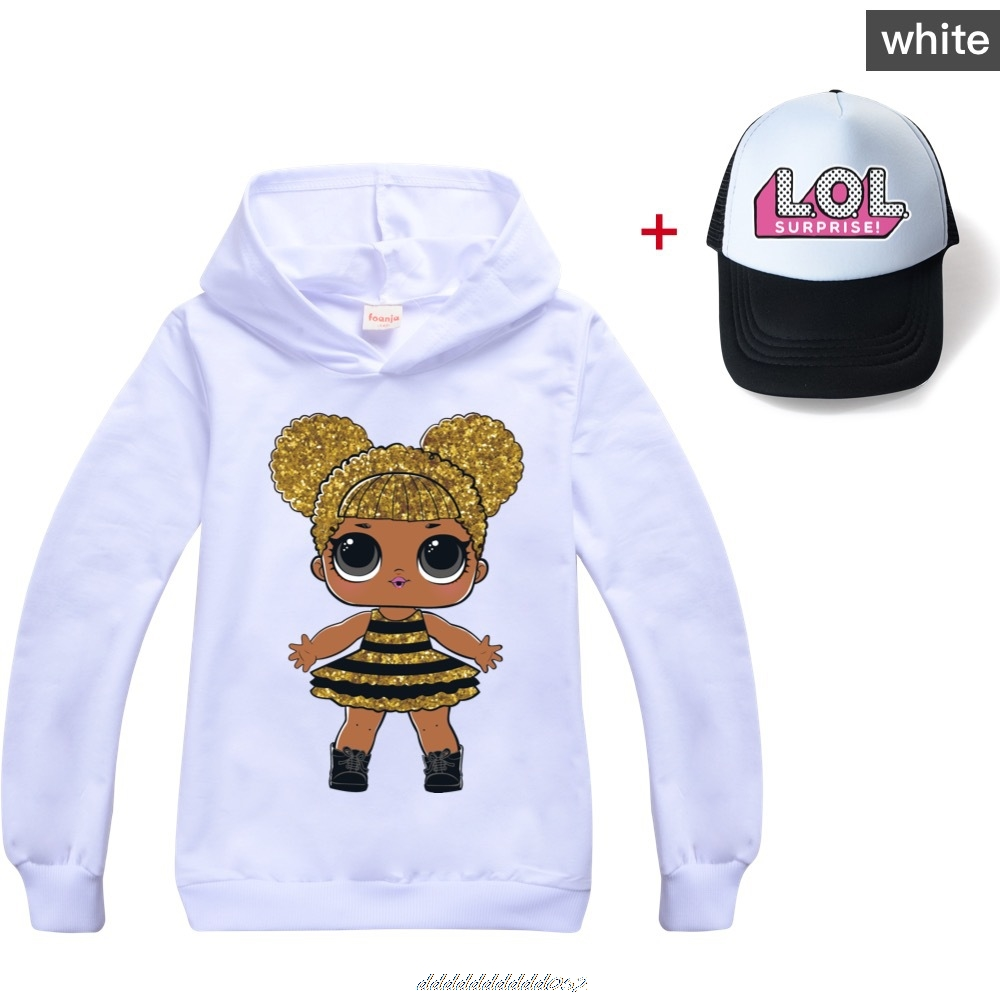 Gris L.O.L. SURPRISE! Hoodies Girl Fashion Hoodie Children Casual Pullovers Printed Sweaters Long Sleeves Kids Autumn Clothes