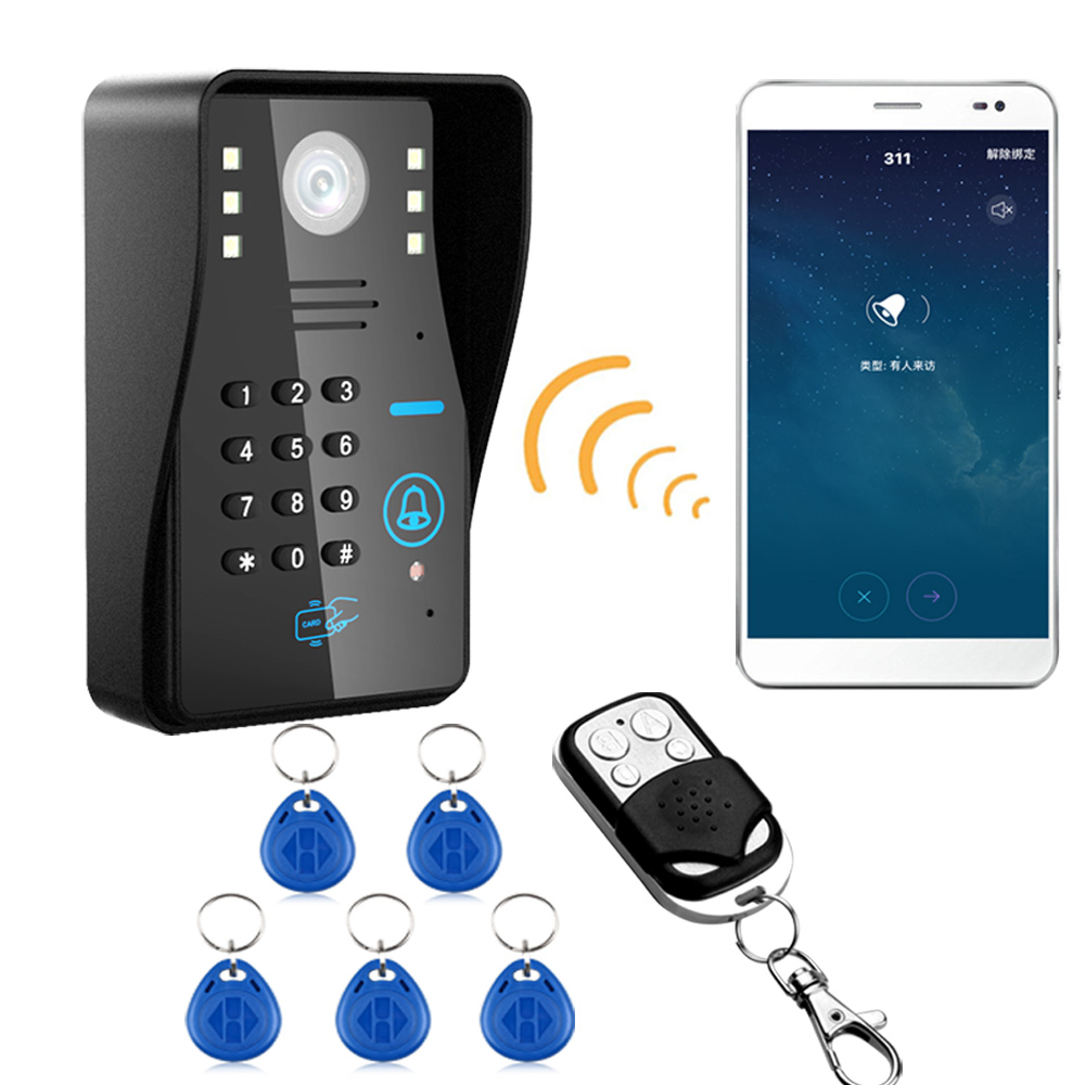 Wireless WIFI RFID Password Video Door Phone Doorbell Intercom System Night Vision Waterproof Access Control System + Wireless