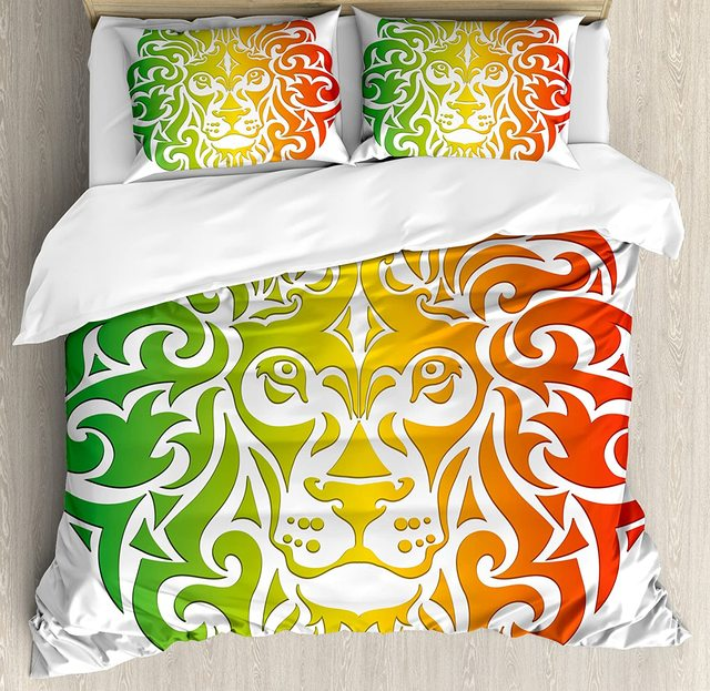 Rasta Duvet Cover Set Lion Portrait in Vivid Colors Portrait Head King of Jungle Image Bedding Set Fern Green Yellow Orange cheap CHARM HOME None Sheet Pillowcase Duvet Cover Sets 100 Polyester 1 0m (3 3 feet) 1 35m (4 5 feet) 1 5m (5 feet) 2 0m (6 6 feet)