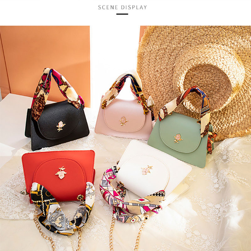Women's Fashion Silk Scarf Rose Chain Messenger Bag Handbag Shoulder Bag Wallet Ladies Leather Messenger Bags