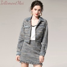 High Quality Women 2 Piece Set Autumn Winter Blue Tweed Single Breasted Short Jacket Coat + Fringe A Line Skirt Suits Ladys Sets