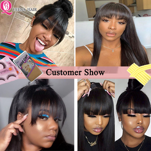 Image 5 - Straight Human Hair Wigs With Bangs Full Machine braide Wigs For Black Women Cheap Lace Front Wigs With Bang Brazilian Hair Wigs