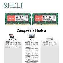 Sheli mini memória ram ddr3 sodimm, 2x8gb PC3-12800 para apple macbook pro imac mini