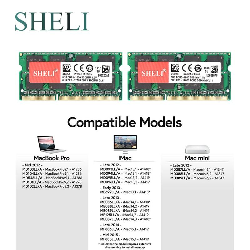 SHELI 2x 8GB PC3 12800 DDR3 SODIMM Memory RAM for font b APPLE b font font