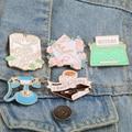 Милая женская брошь в виде розового конверта с надписью на телефон кофейный лацкан эмалевые значки на булавке джинсовое пальто брикет пода...