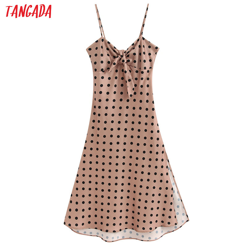 Tangada Female Sexy Dots Print Midi Dresses For Women 2020 Fashion Spaghetti Strap Tunic Midi Dress BE155