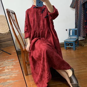 Real-time Chinese women's dress, vintage, placket, loose large-size cotton and linen long(China)