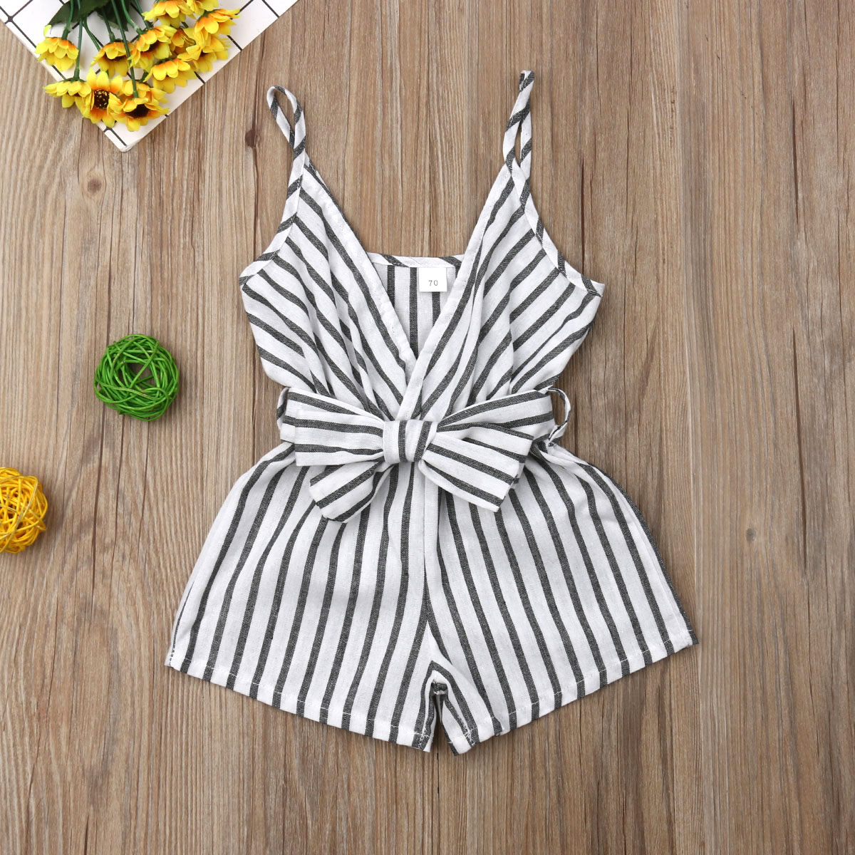 Emmababy Summer Newborn Baby Girl Clothes Sleeveless Striped Bowknot Strap Romper Jumpsuit One-Piece Outfit Sunsuit Clothes
