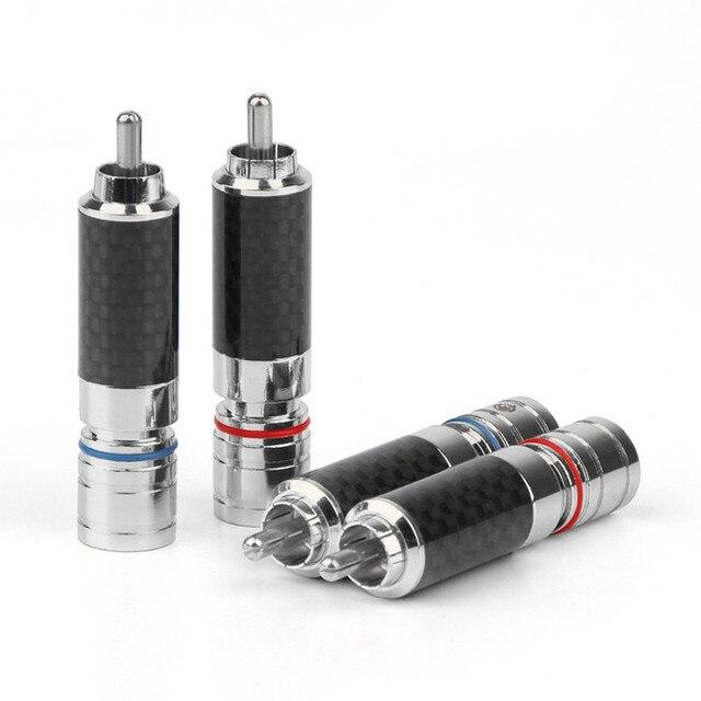 4PCS Audio Jack  RCA Plug Connector Solder Wire Splice Adapter DIY Audiophile Eutectic Carbon Fiber Speaker RCA Male Plug