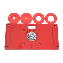Metal Router Table Insert Plate with 4 Rings Screws for Woodworking Benches Trimmer Machine 235mm x 120mm x 8mm